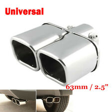 Universal Chrome Stainless Steel Car Rear Square Exhaust Pipe Tail Muffler Tip