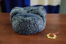 Gray Astrakhan Karakul fur Russian winter hat Ushanka Trapper Bomber Ear Flaps