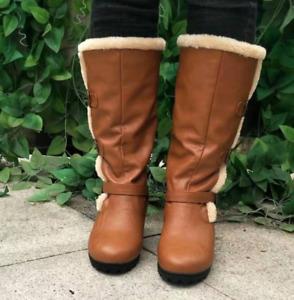Women Med Heels Buckle Mid-calf Boots Retro Winter Warm Faux Fur Outwear Shoes