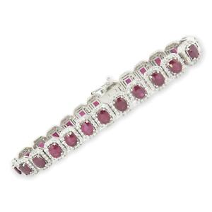 . 11.65ct Ruby & 4.05ct Diamond Set 18K White Gold Bracelet 18cm Long Val $34850