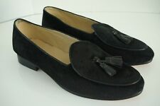 0337747640e42 New SMYTHE DIGBY Black Suede Belgian Albert Slipper Tassel Loafers Shoes  Mens 12
