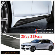 Waterproof 2Pcs 2.15M Carbon Fiber Pattern Car Side Skirt Stickers Graphic Vinyl