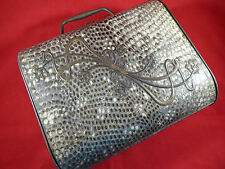 RARE HUNTLEY & PALMERS SNAKE SKIN EFFECT BAG BISCUIT TIN c1903