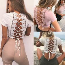 Womens Short Sleeve Lace Up Back T-Shirt Ladies Summer Beach Crop Tops Blouse