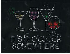 Wine Rhinestone iron on Bling Transfer DIY Hot fix Applique It's 5 O'clock so 14