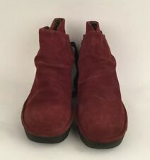 NWOB Women's Fly London Yama Wedge Wine Suede Ankle Boots Booties Size 10