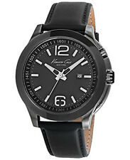 Kenneth Cole New York Men's Analog Leather Strap Black Dial Watch 10022558