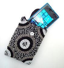 KHARMIC Hand Beaded Smart Phone Handbag Shoulder Crossbody Bag Black & White New