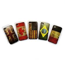 CUSTODIA PER IPHONE 4 E 4S BANDIERA COVER CASE ITALIA USA UK BRASILE
