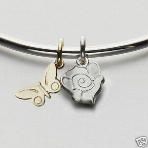 Ola Gorie Silver Bangle with 9ct Yellow Gold Butterfly Flowerland Bangle