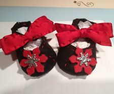 Mary Jane Infant Christmas Shoes Black w/ Red Snowflakes.