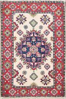 Super Kazak Oriental Hand-Knotted Traditional Area Rug Wool Ivory/Red Carpet 2x3