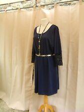 jolie robe bleu marine manche finition dentelle grde taille 48 50 tendance! fd34bc79150