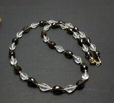 Cuarzo ahumado y cristal de Roca Cadena Piedra Preciosa FACETADA forma gota
