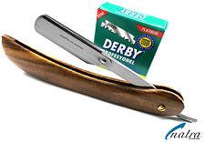Solides Holz Rasiermesser inkl. 100 Derby Rasierklingen Rasierer JiletvRazor