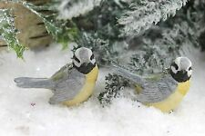 GISELA GRAHAM CHRISTMAS RESIN BLUE TIT BIRD DECORATION X 2