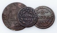 1801-1843 Swiss Cantons 1/2 Batzen, 1 & 2 Rappen Coin lot of 3 (VF)