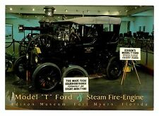Model T Ford & Steam Fire Engine Edison Museum Postcard Fort Myers Florida