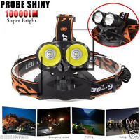New 10000Lm 2x T6 LED Rechargeable Outdoor Camping Headlamp Headlight Head Torch
