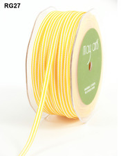 3/16 Inch Solid/Stripes Ribbons - May Arts - RG27 - Yellow/White - 5 Yards