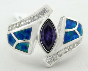 GENUINE BLUE OPALS, CREATED AMETHYST/WHITE SAPPHIRE RING Silver Plated Size 9