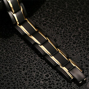 New Accessories Men Gold/Black Stainless Steel Bicycle Bracelet Titanium Bangle