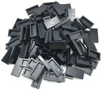 Lego 100 New Black Tiles 1 x 2 with Groove Flat Smooth Pieces