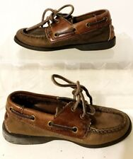 Land Rover Genuine Hand Sewn Vamp Boys Brown Leather Boat Shoes Size 3