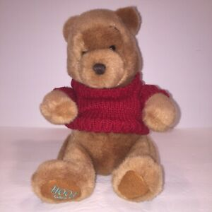 "Winnie The Pooh Simply Pooh 13"" Plush Bear With Red Sweater Sku G"