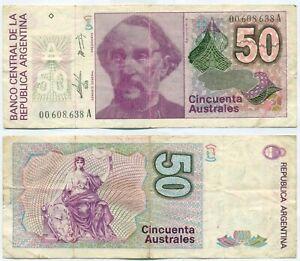 ARGENTINA NOTE 50 AUSTRALES (1986) PAMPILLO-CONCEPCIO B#2827 SUFFIX A P 326a AVF