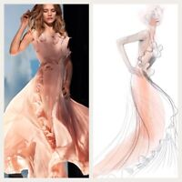 H&M CONSCIOUS Pleats Flounce Maxi Dress Long Gown Ruffle 38 42 8 12 16 Dust Pink