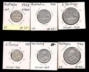 AUSTRALIA - 6 PENCE & SHILLING & FLORIN 1928-34 SILVER - CV $180