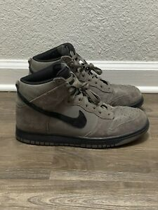 Men's Nike Dunk High Dark Mushroom Suede Leather Black Sz 9.5 (904233-200)-EUC