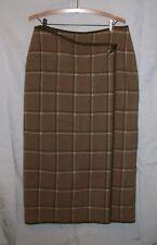 Jones NY Country Brown Plaid Wool Lined Blanket Wrap Skirt 12 Petite