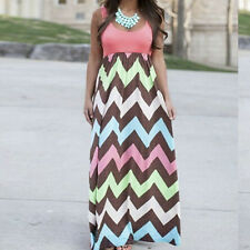 Boho Women Summer Long Maxi Dress Sleevelesss Casual Beach Holiday Vest Sundress
