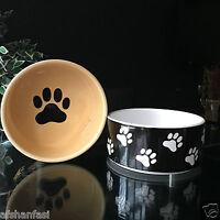 "PETS FEEDING WATER CERAMIC Bowl Paw Design Cat & Dog Feeding CERAMIC Bowls 5/7"""