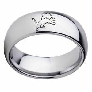 DETROIT LIONS Football Team Silver Stainless  UNISEX Band RingSize 12