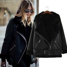NEW Fashion BLACK FAUX Leather Shearling FUR COLLAR AVIATOR BIKER JACKET Coat