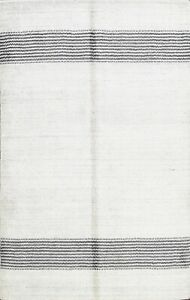 Contemporary Ivory Gabbeh Oriental Hand-knotted Area Rug Wool Carpet 4'x6' Foyer