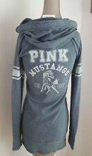 PINK Women Grey Pullover Button GRAPHIC Hoodie Pullover Long size S