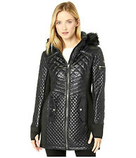 $190 Michael Kors Fur Hooded Quilted Jacket Coat in Black NWT M