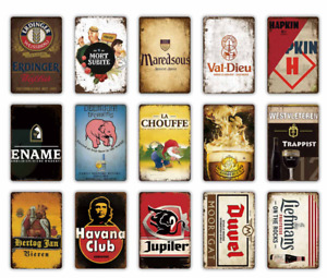 Vintage BELGIUM BEER Metal Sign Aluminum Plaque Club Bar Pub Tavern Wall Decor