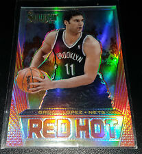 Brook Lopez 2013-14 Panini Select RED HOT SILVER PRIZM Insert Card (#'d 15/25)