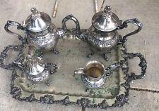 6 PIECE VINTAGE SILVER ON COPPER TEA SET GRAPE & VINE HEAVY THICK