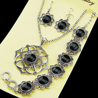 New Direct Selling Malachite Stone Necklace Earring Bracelet Vintage Jewelry Set