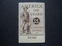#PS15 $5.00 Postal Savings Stamp Plate # Single MNH OG VF CV $85
