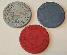 """New listing Lot Of 3-1800's- Civil War Era 1 1/2"""" Clay Poker Chips w/ American Eagle"""