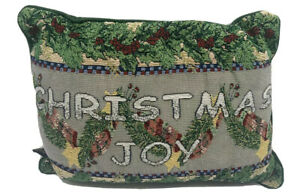 Vintage Needle point Pillow Christmas Joy Red Green