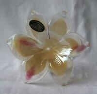 Italian Art Blown Glass Flower Murano Hush Pink Italy No 575