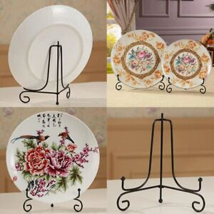 Decorative Plate Holder Iron Pedestal Display Stand Art Frame Picture Dish Easel